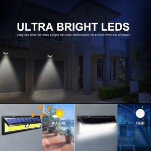 Image 5 - 1/2/4 قطعة 180 مصباح LED بالطاقة الشمسيّة محس حركة ضوء COB 3 طرق في الهواء الطلق حديقة ساحة مقاوم للماء توفير الطاقة مسار الشمسية الجدار مصباح