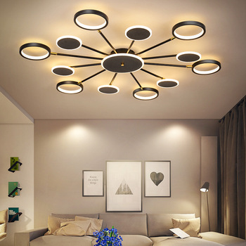 Modern led ceiling lamp living room ceiling lamp bedroom lamp kitchen lamp black gold embedded panel lamp with remote control 1