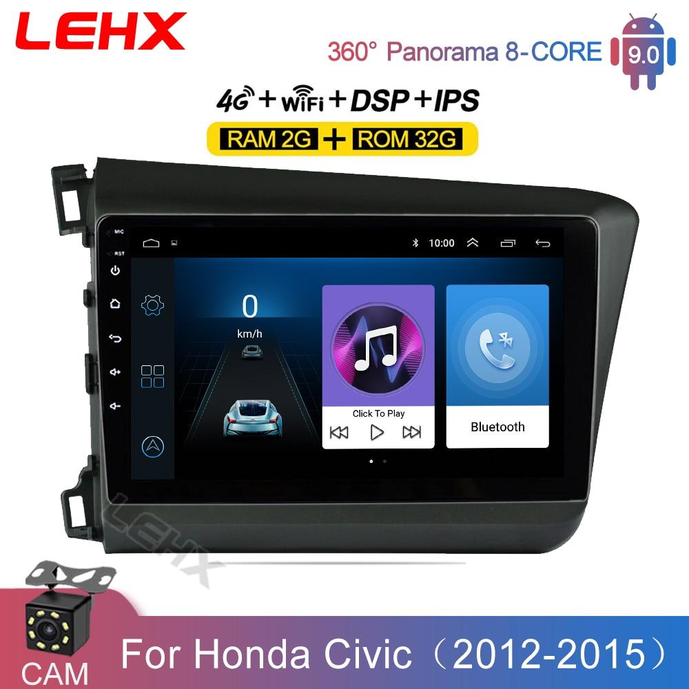 LEHX 2din Android 9 дюймов 2 Гб ОЗУ автомобильное Авторадио мультимедийный видеоплеер навигация GPS головное устройство для HONDA CIVIC 2012 2013-2015