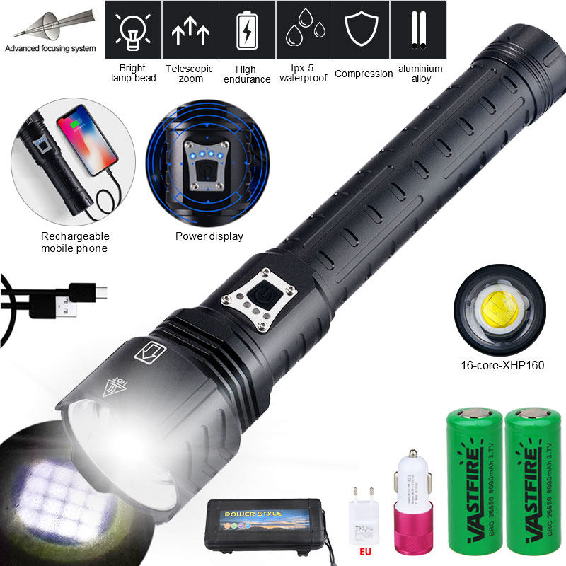 USB Rechargeable XHP110 16core LED Flashlight Hiking Tactical Hunting Torch Lamp