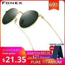 FONEX التيتانيوم النقي النظارات الشمسية الرجال خمر صغيرة مستديرة نظارات شمسية مستقطبة للنساء 2019 الرجعية عالية الجودة UV400 ظلال 8508