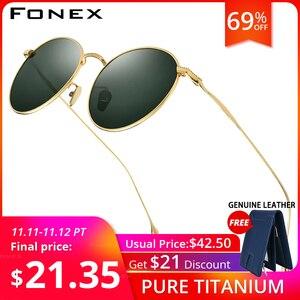 Image 1 - FONEX التيتانيوم النقي النظارات الشمسية الرجال خمر صغيرة مستديرة نظارات شمسية مستقطبة للنساء 2019 الرجعية عالية الجودة UV400 ظلال 8508