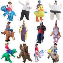 Mężczyźni dorosły Fantasy nadmuchiwany kostium dinozaura impreza jednorożec Anime Cosplay Willy koń Sumo szef kuchni Halloween kostium dinozaura dla dzieci