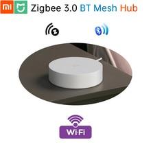 Xiaomi mijia mi smart home hub original, zigbee 3.0 2.0 bluetooth 5.0 malha 100 sub wifi, permanece automação, sem internet