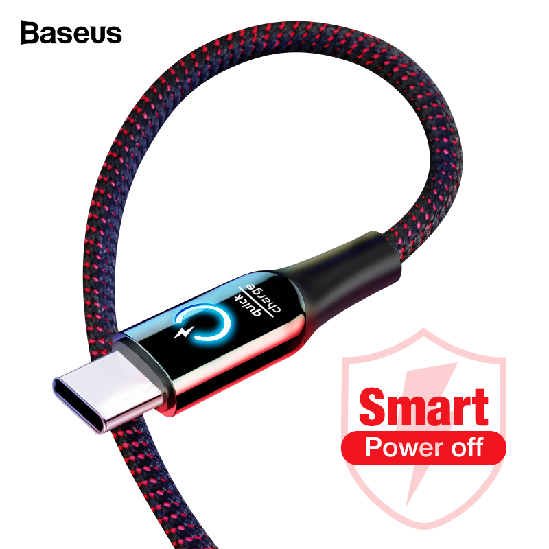 Baseus 3A Smart Power Off USB Type C Cable Quick Charger Type c Cable For Samsung S10 S9 Note 10 Oneplus 7 6t 6 USB C USBC Cable-in Mobile Phone Cables from Cellphones & Telecommunications on AliExpress
