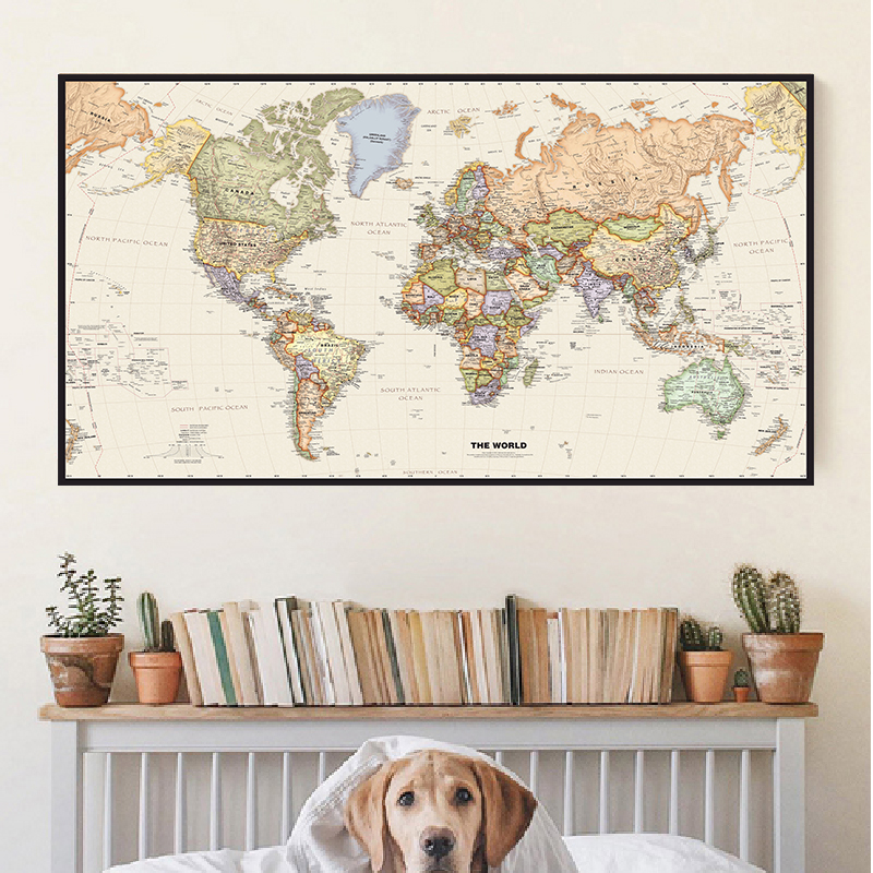 The World Map with Details Retro Canvas Painting 5 Sizes Wall Art Poster Classroom Home Decoration Children School Supplies