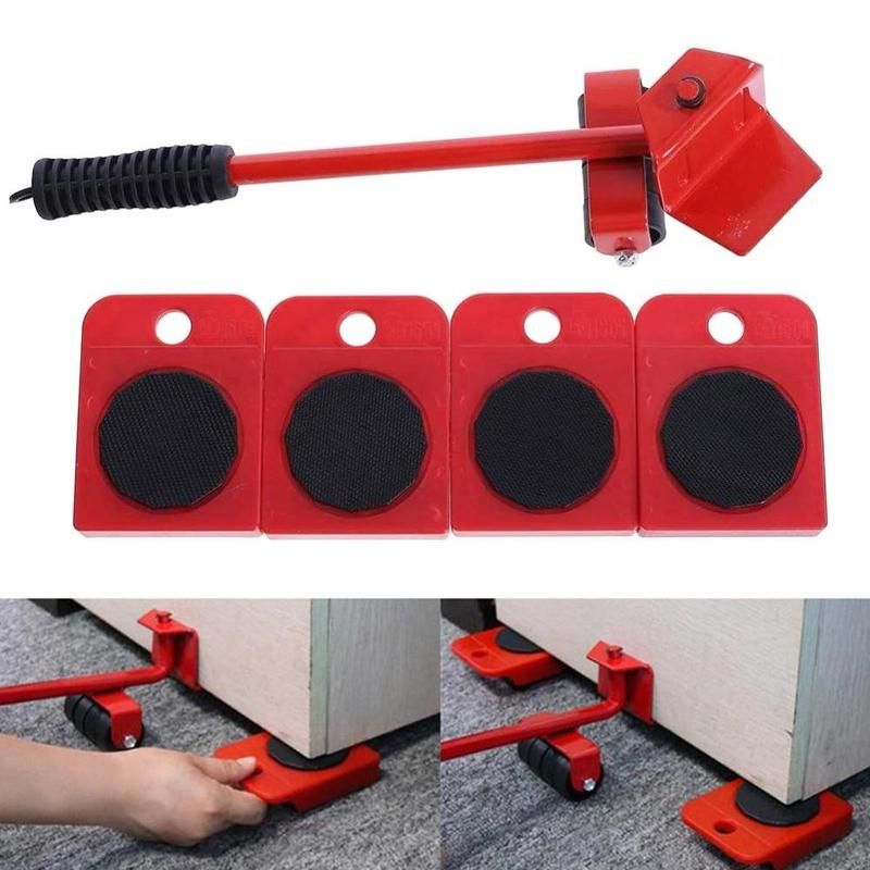 Furniture Transport Lifter Household 4 Mover Roller+1 Wheel Bar Hand Tool Set Hand Tool Set Furniture Moving Transport Set