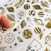 1 folhas de ouro foilded belas estrelas e planetas papel adesivo computador portátil telefone diy adesivos decorativos