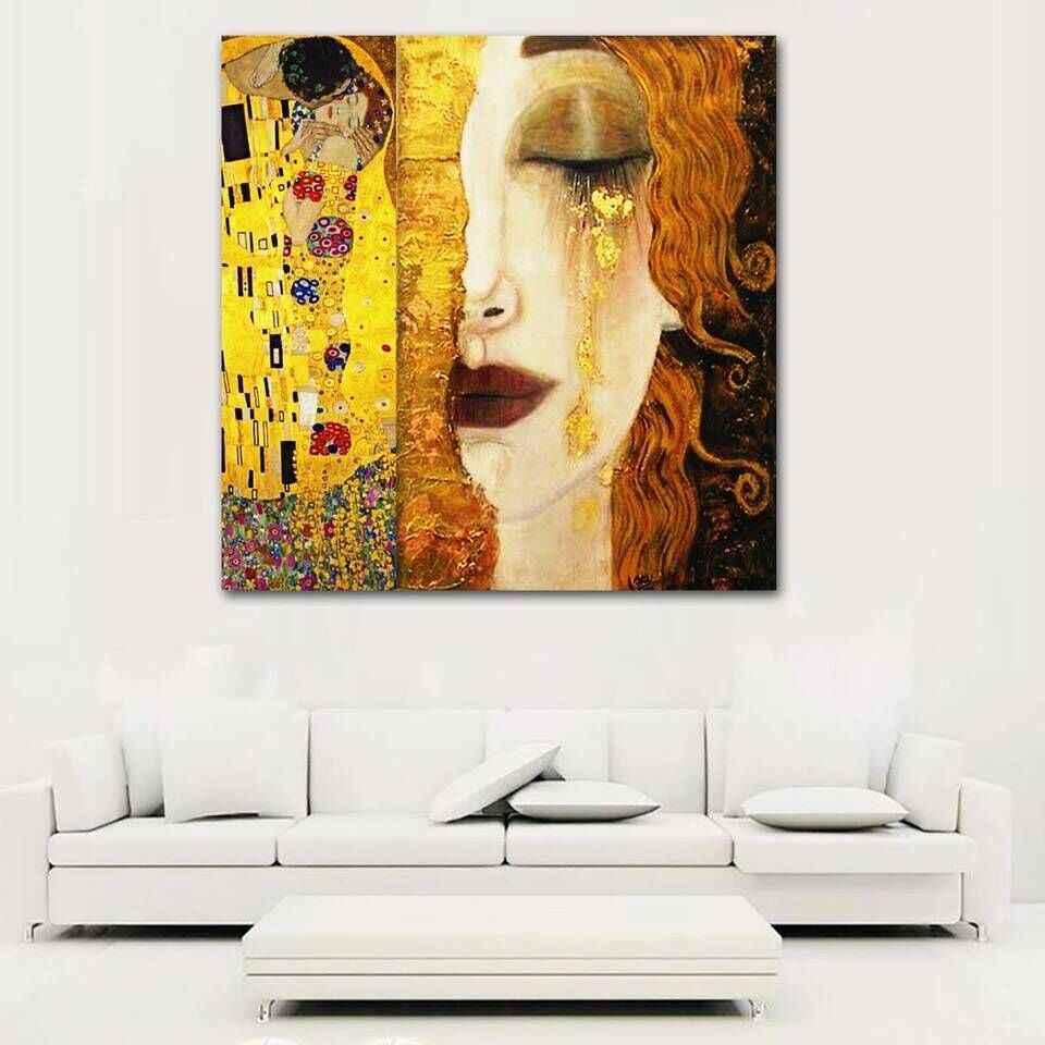 Retrato de beso y llanto Gustav Klimt pintura al óleo abstracta buena para decoración de dormitorio