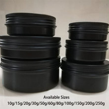 10g 20g 30g 50g 60g 80g 100g 150g 200g Matte Black Aluminum Jar Cosmetic Lotion Bottle Empty Cream Container Tin Free Shipping