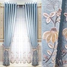 Simples cortina de tule 2021 novo bordado cortinas para sala estar moderna quarto nordic luxo blackout à prova som
