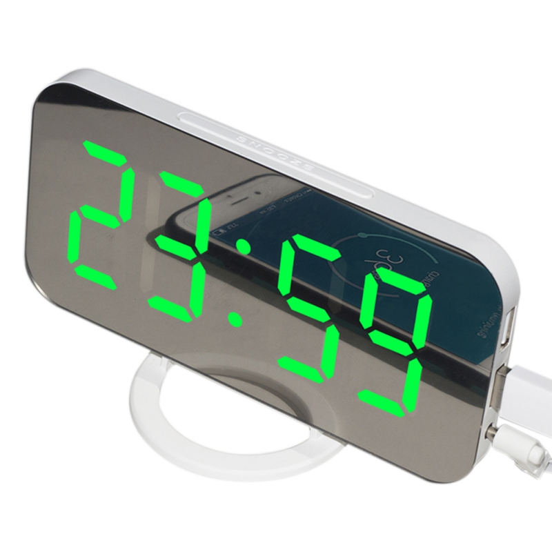 Dual USB Digital LED Clock Snooze Mirror Electronic Alarm Clock Time Night Light