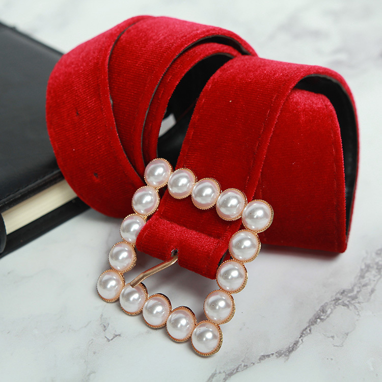 Fashion Trendy Red Velvet Pearl Button Women's Belt 2019 Pearl Buckle Flannel Apricot Girdle For Girls Luxury Dress Ceinture