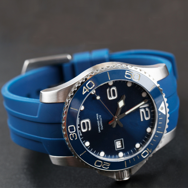 Silicone Rubber Strap Wrist Watch Band for L3 Concas Frogman 21MM Rubber Black Blue Men's Automatic Diving Watch Soft Strap New