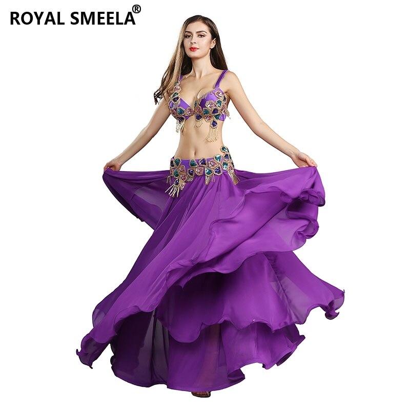 Oriental Beaded Belly Dance Costume Performance Women Dancewear Professional 3pcs Outfit Bra Belt Skirt Bellydancing Suit 119083