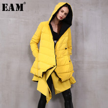 [EAM] Loose Fit Pleated Double-sided Wear Down Jacket New Hooded Long Sleeve Warm Women Parkas Fashion Autumn Winter 2019 1A401(China)