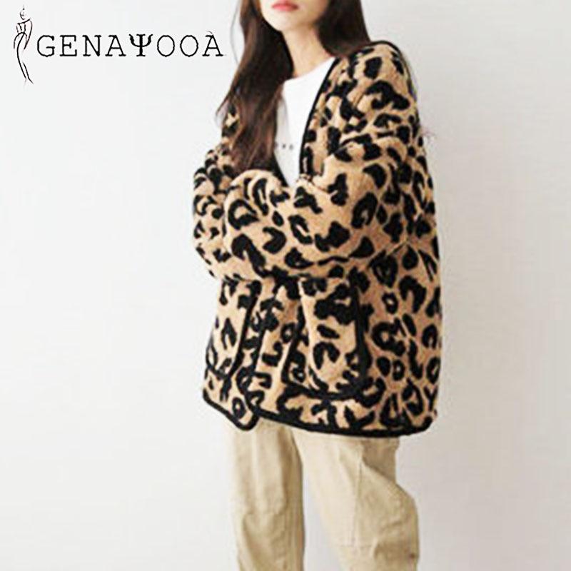 Женское теплое пальто genayoa повседневное с леопардовым принтом