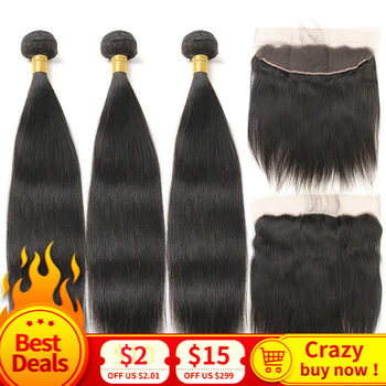 Indian Straight Human Hair Bundles With Lace Frontal Closure Remy Hair With Lace Frontal Closure With Baby Hair Natural Black