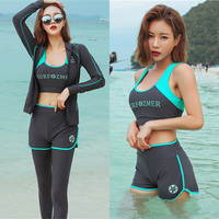 Anti UV swimming suit for women long sleeve full body ladies rash guard zipper t shirt hooded surf set 5 pieces swimwear costume