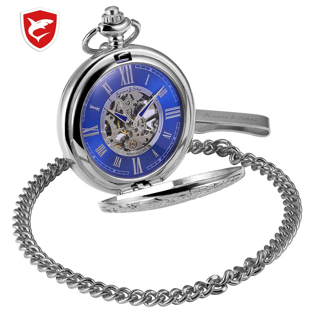 KS Golden Steampunk Roman Mechanical Blue Pocket Watch Hand Winding Men Clock Fobs Long Chain Key Pendant Watches + Box /KSP073