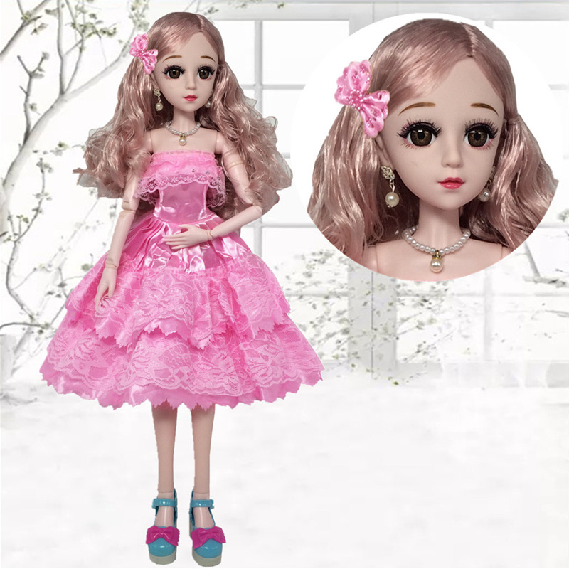 60cm BJD Dolls Beautiful Doll Clothes Pink Princess Dress Laceed Skirt 3D Eyes Fashion Doll Accessories Bjd Toys For Girls Gift