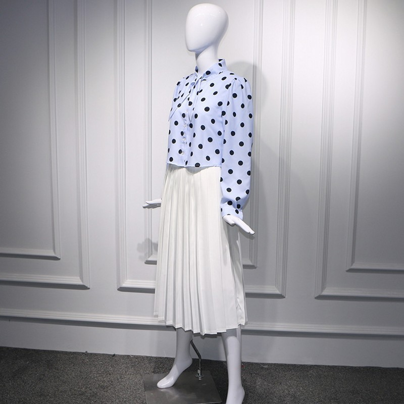 Sweet Style Womens Two Piece Sets 2020 Drawstring Polka Dot Long Sleeve Single Breasted Shirts Elastic Waist White Pleated Skirt