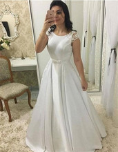 2020 New Robe De Mariee Satin Simple Wedding Dresses Scoop Neck Lace Short Sleeves Bow Sashes Backless Draped Bidal Gowns
