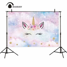 Allenjoy Unicorn Party Background Pastel Clouds Beads Golden Stars Flower Glitter Banner Photocall Birthday Backdrop Photography allenjoy photography backdrop unicorn birthday rainbow stars clouds background photo shoot photocall photobooth fabric decor