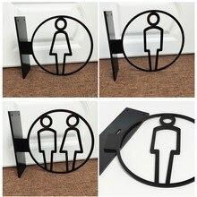 Akrylowy znak Wc płyta 3D mocowanie boczne Wc znaki drzwi naklejki mężczyźni i kobiety toaleta znak Wc Doorplate porady przewodnik płyta drzwi