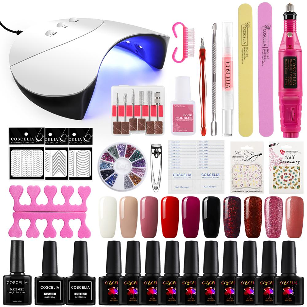 Manicure Set Nail Kit Dryer UV LED Lamp&UV Gel Varnish Polish Top Base Coat For Manicure Nail Art Tool Kit Varnish Extension Set
