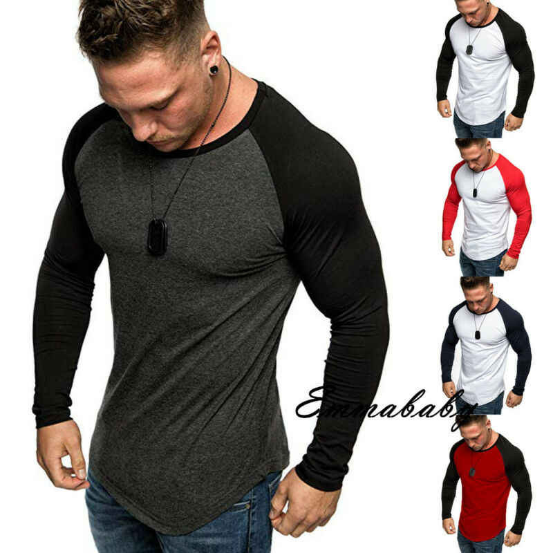 2019 New Style Autumn Men's Long Sleeve Muscle Slim Fit T-Shirt Crew Neck Patchwork Casual Daily Sport Tee Tops Fashion