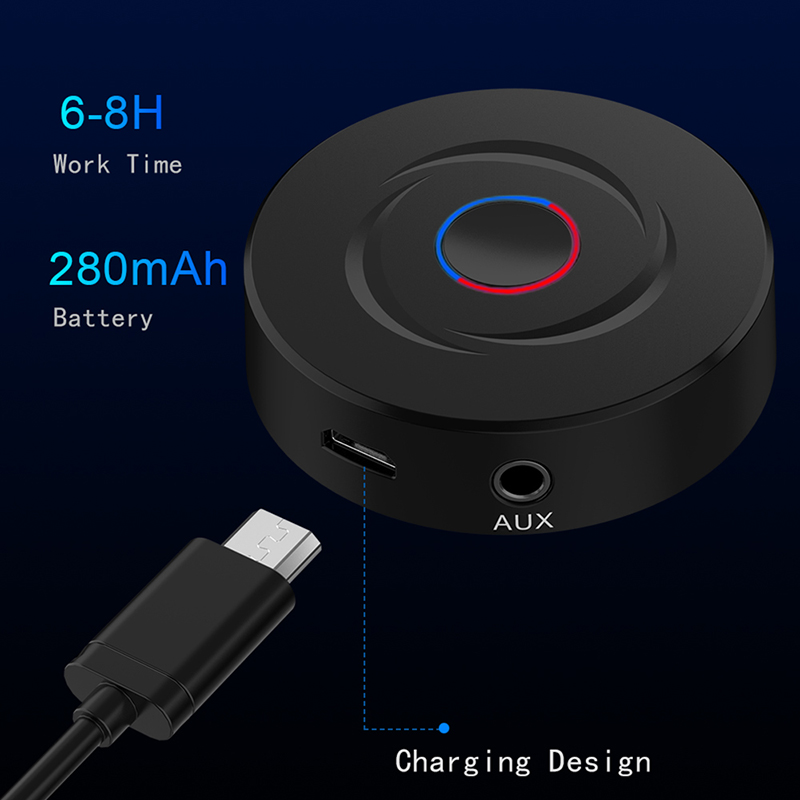 2 IN 1 5.0 Bluetooth Receiver Transmitter 3.5mm AUX Stereo Audio Round Wireless Bluetooth Adapter For Car TV PC Speaker Earphone 2
