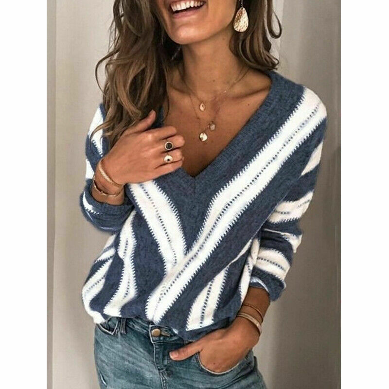 2020 Spring Womens Sweater Striped Fashion V Neck Long Sleeve Sweater Loose Knitted Batwing Sleeve Pullover Sexy Jumper Tops Hot
