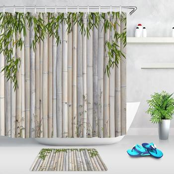 Green Bamboo Leaves Raft Bathroom Shower Curtains Non-slip Mat Waterproof Polyester Fabric Bath Curtain Home Decoration