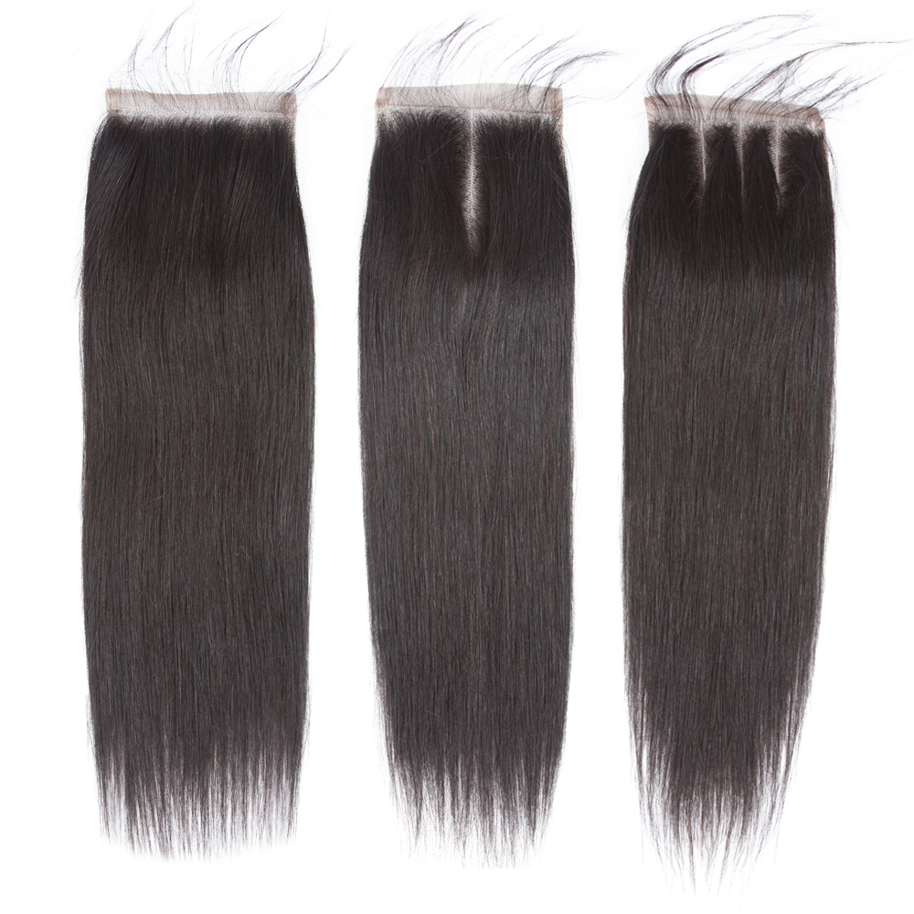 Beaudiva 4x4 Brazilian Closure Straight Human Hair Free/Middle/Three Part 100% Remy Lace Closure 8-20 Inch Natural Color