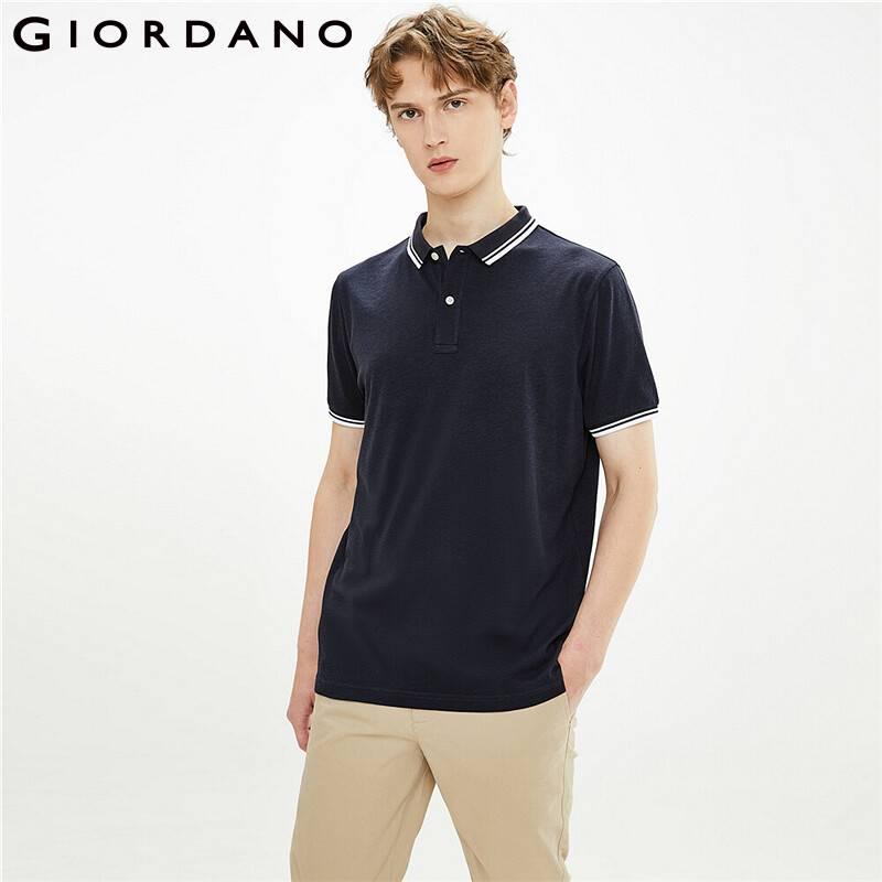 Giordano, мужские Поло, высокотехнологичные, быстрое качество, контрастная рубашка поло, анти-Wrinlde, сетчатая подкладка, однотонная мужская рубаш...