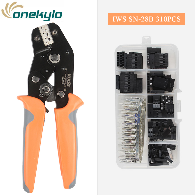 IWISS SN-28B 310pcs Dupont Crimping Pliers  Wire Jumper Pin Header Connector Housing Kit Male/Female Crimp Pins Terminals Set