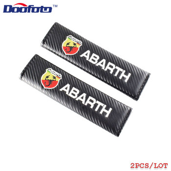 Doofoto Automobile Seat Belt Cover Shoulder Protective Padding For Abarth 500 595 For Fiat Accessories Car Styling Carbon Fiber image