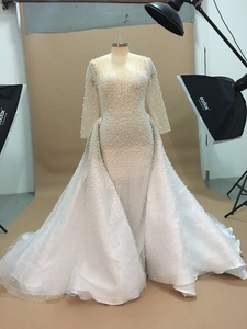 Image 3 - Luxury Full Pearl Beaded Mermaid Wedding Dresses With Detachable Train Vintage Long Sleeves Saudi Arabic Plus Size Bridal Gown