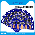 50 шт. Оригинальная батарея SONY CR2032 3 в литиевые батареи BR2032 DL2032 ECR2032 CR 2032 Кнопка монета батарея для часы с калькулятором