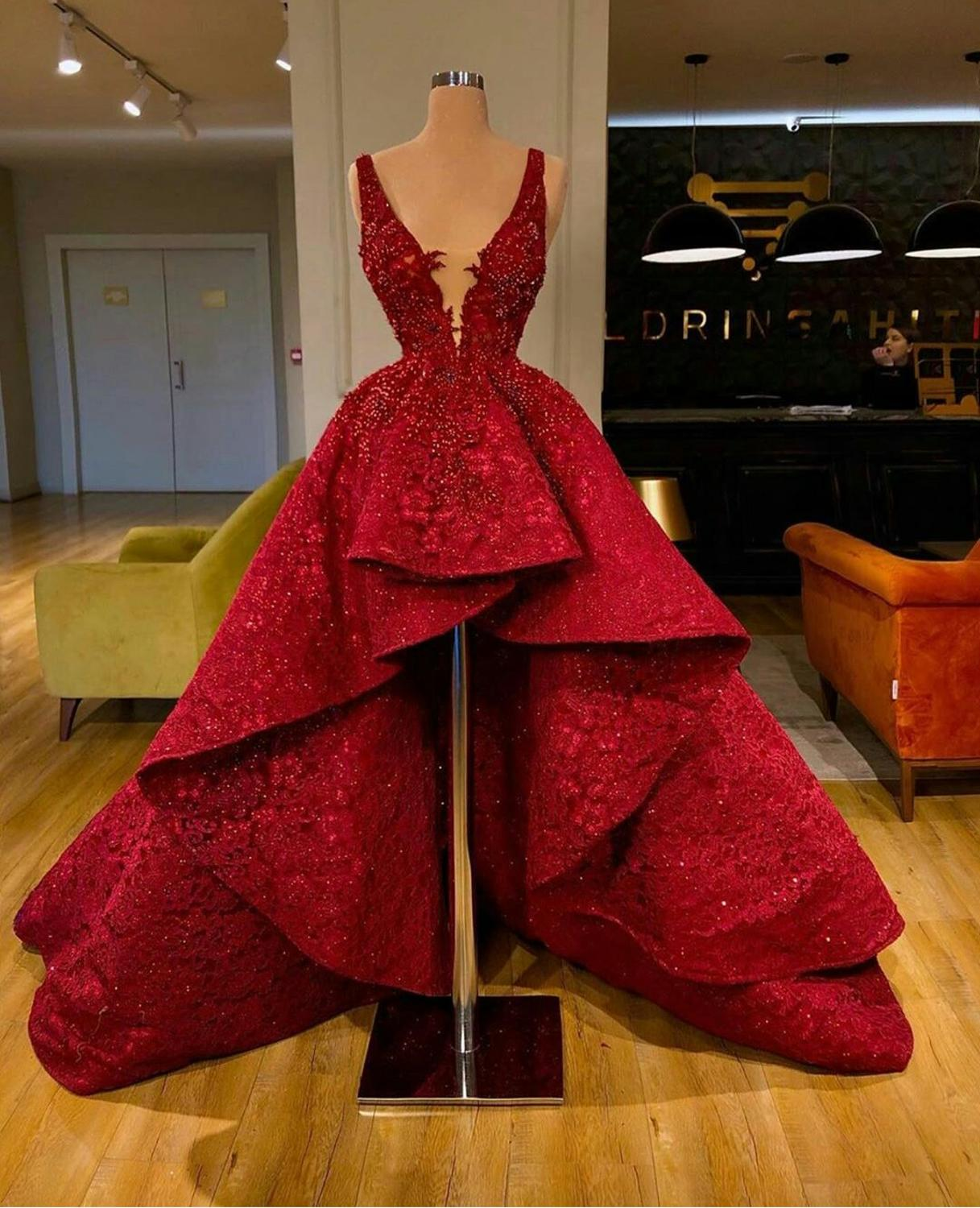 2020 Luxury Red Prom Dresses Deep V Neck Lace Appliqued Bead Formal Dress Custom Made High Low Evening Gowns Party WearProm Dresses   -