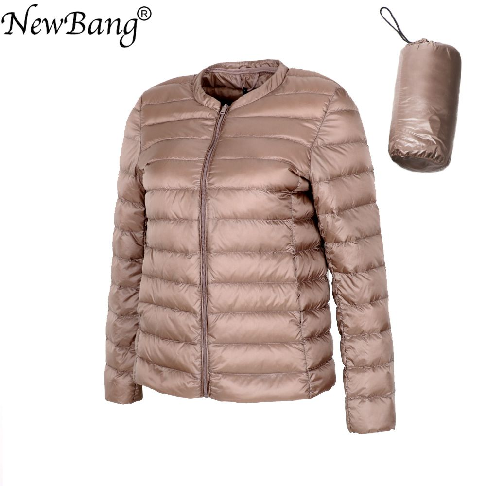 NewBang Brand Ultra Light   Down   Jacket Women Collarless   Coat   With Zipper Feather Outwear Jacket Women Slim Female Windbreaker