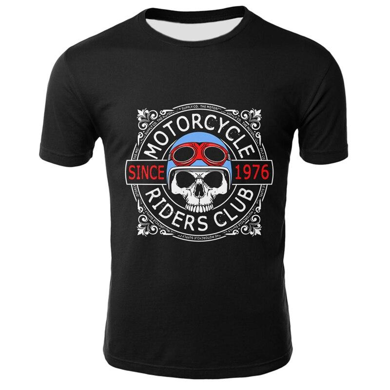 Punk Rock Skull T Shirt Men Black Tshirt  Summer Fashion Casual Short Sleeve Tops Tees Streetwear Funny 3D Skull Tshirts