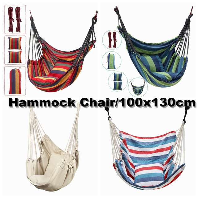 2 Pillow Hammock Hanging Rope Hammock Chair Swing Seat Large Hammock Chair Relax Hanging Swing Chair for Indoor Child Adult 4