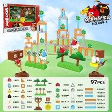 Genuíno autorizado angry birds blocos de construção estilingue catapulta conjunto interativo dos desenhos animados anime boneca brinquedo menino presente da menina