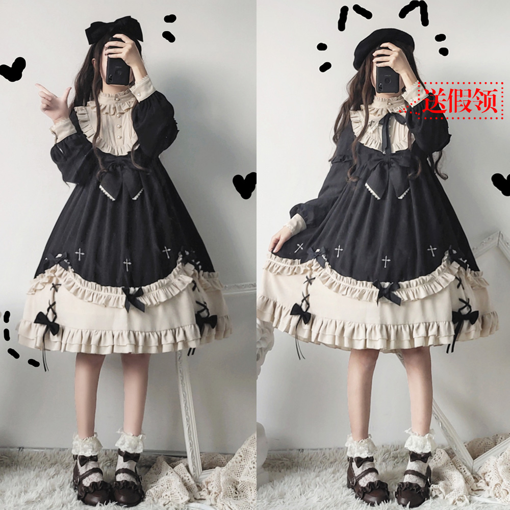 Gothic Vintage Sweet Lolita Dress Lace Bowknot Embroidery Stand High Waist Victorian Dress Kawaii Girl Gothic Lolita Op Loli Cos