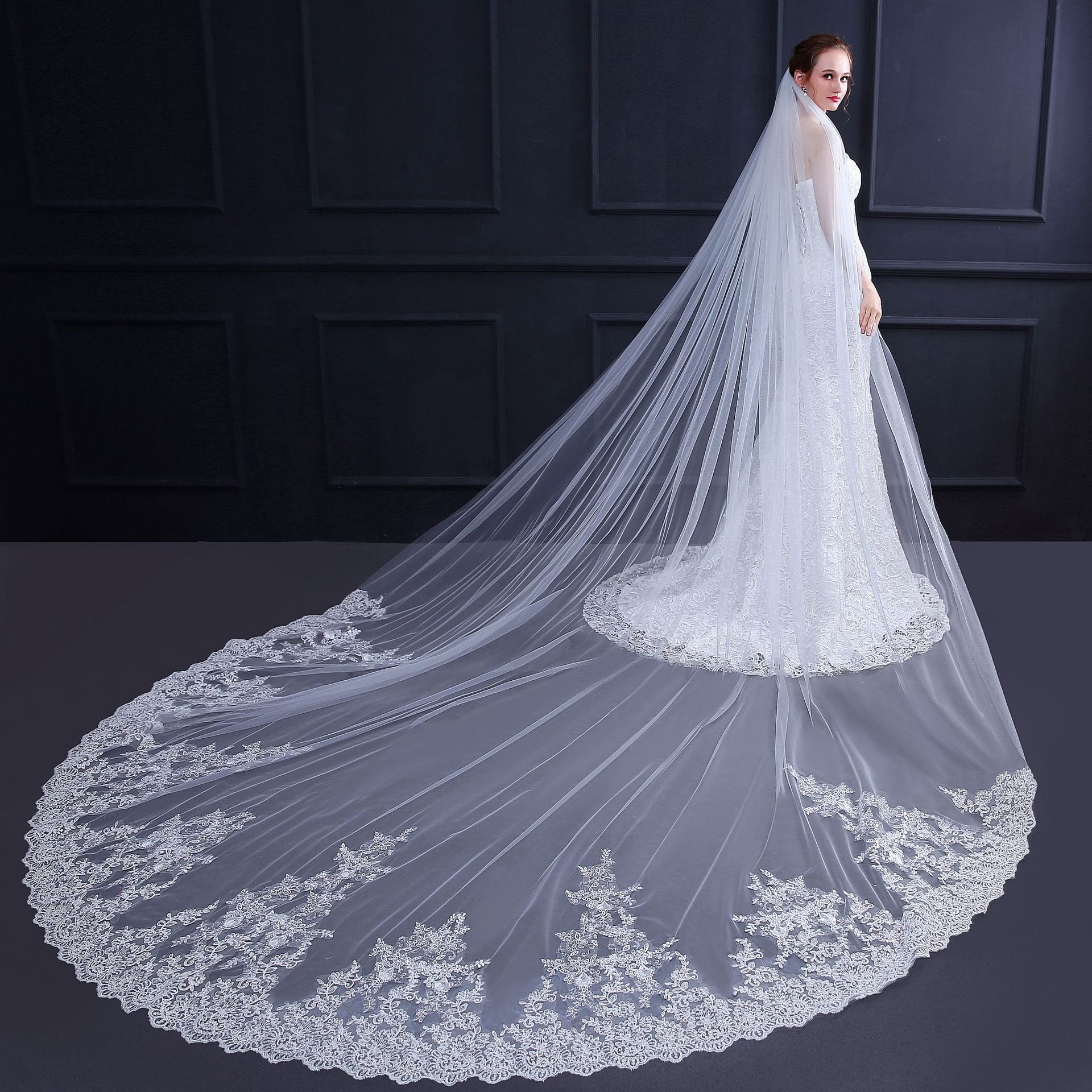 JaneVini Luxury White/Ivory Cathedral Wedding Veils with Comb One Layer Lace Appliques Edge Soft Tulle Long Bridal Veil Mariage