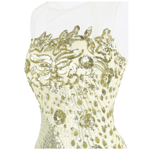 Image 4 - Robe de soirée forme sirène, robe de soirée, col rond, à la mode, robe de mariage, épissage, Champagne, 454