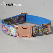 Nylon print girl dog collar flower for big small fabric with rose gold metal buckle bow tie pet leash straps