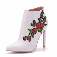 White Women Boots High Heels Spring Autumn Shoes Pointed Toe Winter Boots Leather Designer Flower Ankle Boots Botas Mujer Size41 2017 new autumn winter flower square heels round toe shoes genuine leather women boots side zipper women ankle boots botas
